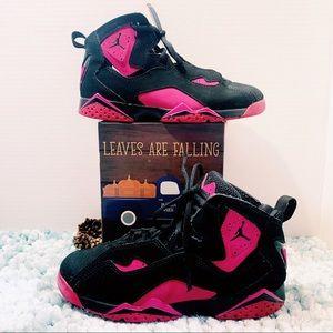 Nike Air Jordan Sneakers Black & Hot Pink Size 3Y